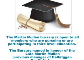 Martin Mullen Bursary 2015