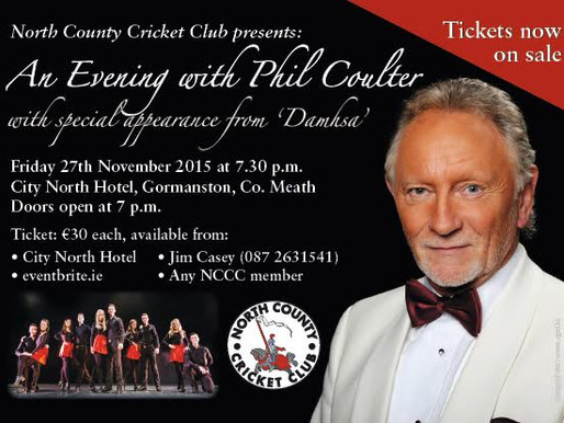 North County Cricket Club presents Phil Coulter Friday Nov 27th