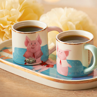 3 oz 闔家團圓馬克杯碟組 (3 oz happy piggy family tray and demi cup set)