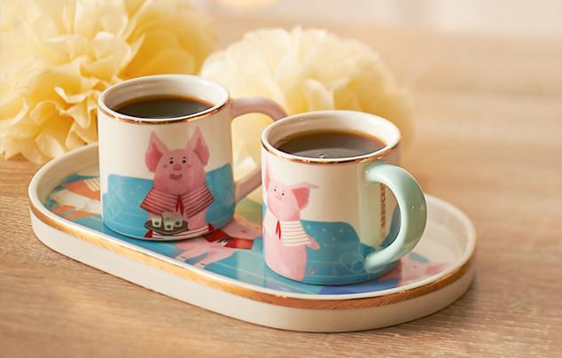 3 oz 闔家團圓馬克杯碟組 (3 oz happy piggy family tray and demi cup set)