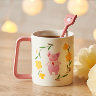 12 oz 小豬春風滿面馬克杯 (12 oz floral wreath mug with piggy spoon)
