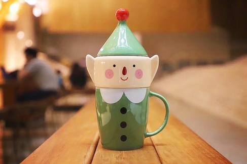 14 oz mug with elf candy jar