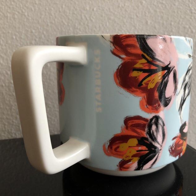 Starbucks 2019 Limited Edition Blue Swirl Peony Ceramic Coffee Mug 14oz
