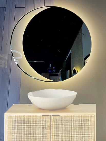 Espejo Lunar 75 cm 3 luces, reloj y antiempañante