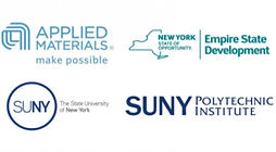 Logos for Empire State Development, SUNY Poly, and Applied Materials