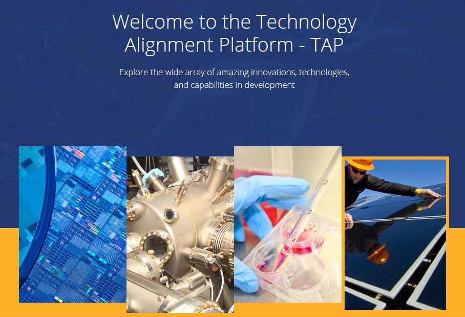 """collage of various equiptment used at the AMP Center's technology alignment platform and the text, """"Explore the wide array of amazing innovations, technologies, and capabilities in development"""""""