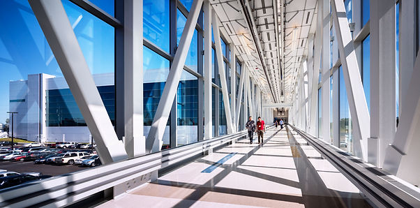 enclosed bridge between buildings at the SUNY Poly Albany campus