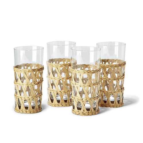 Island Chic Woven High Ball Drinking Glasses, Set of 6