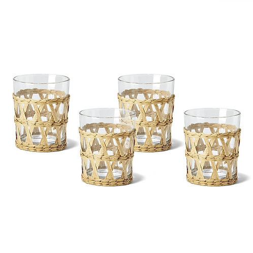 Island Chic Woven Old Fashioned Drinking Glasses, Set of 6