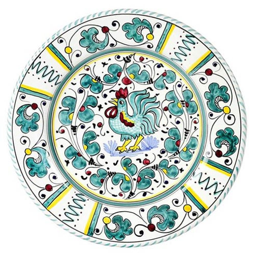 Deruta Of Italy Orvieto Green Rooster Dinner plate