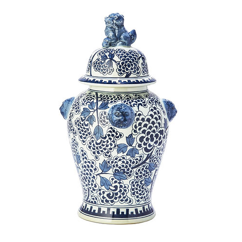 Hand Painted Blue and White Peony Ginger Jar