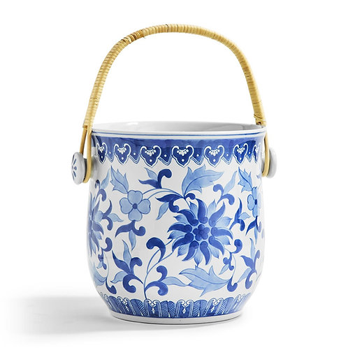 Woven Cane Blue and White Ice Bucket
