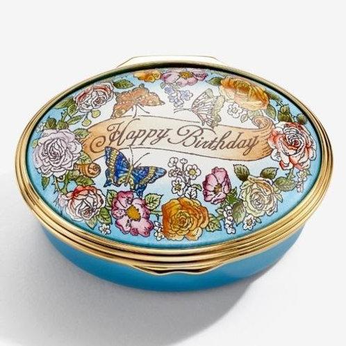 Halcyon Days Happy Birthday Floral Enamel Box
