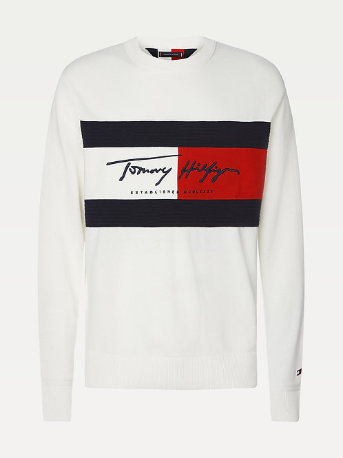Tommy Hilfiger Flag Patch Crewneck in White