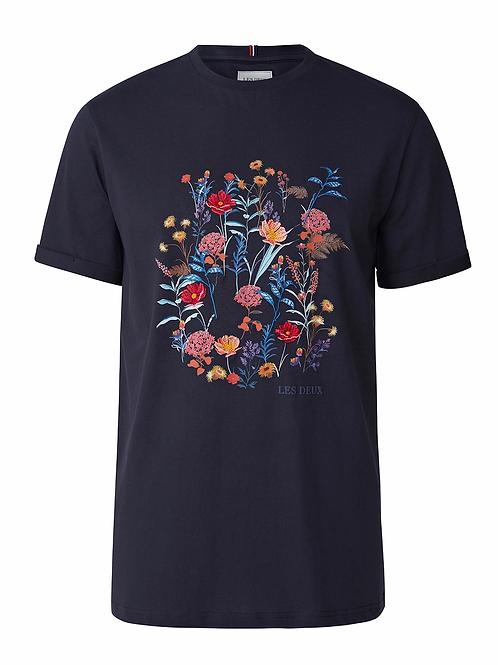Les Deux Fleur D'été T-Shirt in Navy