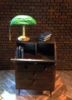 desk and lamp