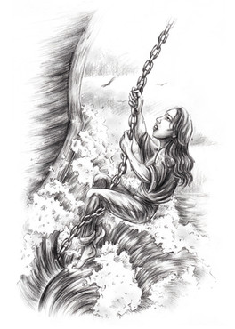Ana climbing the bowsprit