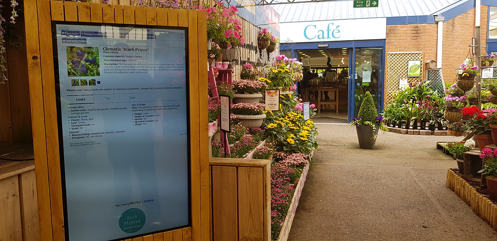 Review Systems Digital Signage display installed in a Grosvenor Garden centre