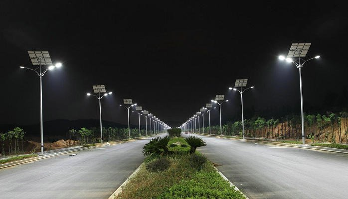Solar Street Lamp Night Time