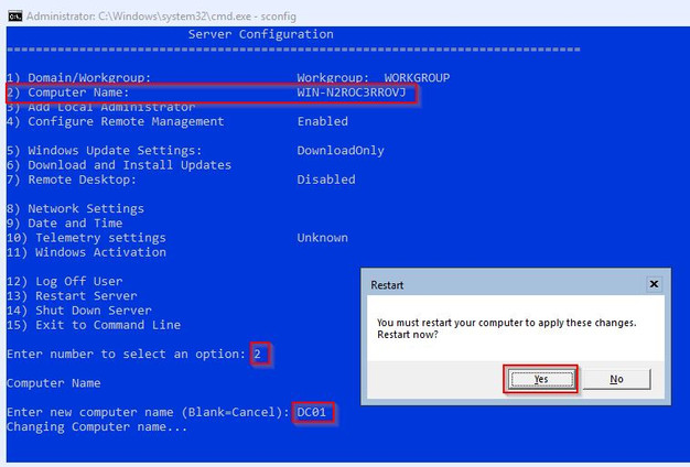 Windows Server 2019 Core - Post Installation Tasks