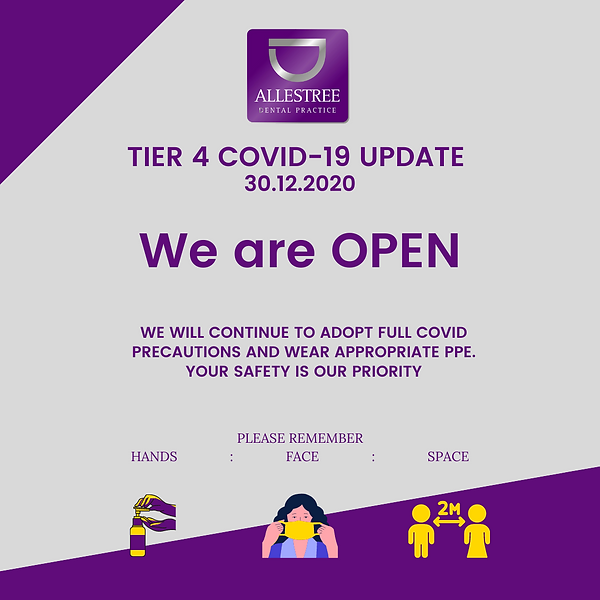 COVID-19 UPDATE 30.12.2020 We are OPEN.p