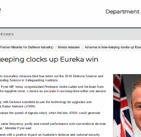 Advance in time-keeping clocks up Eureka win