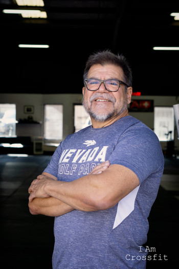Juan F Guzman 65 years young I have been doing Crossfit for 6 years. I worked for Carson City managing property and got a call about renting a City building for a Crossfit box. I asked what is a Crossfit box and they told me come and try it out and 6 years later i am still trying to do a muscle up!