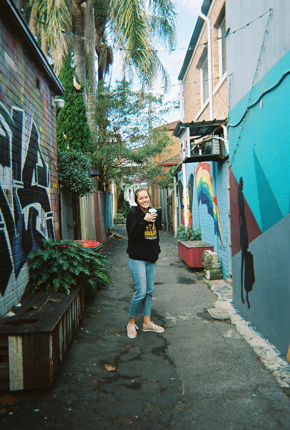 Standing in an alleyway after a coffee in my favourite neighbourhood.