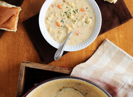 Creamy Cauliflower Chowder {Gluten-Free, Vegan Option}