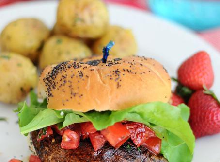 Portobello Burgers with Sun-Dried Tomato & Basil Topping {Vegan, Gluten-Free}