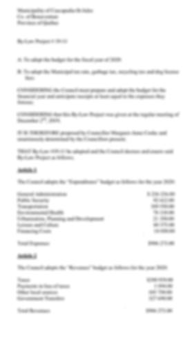 Envoi d'un message budget By-Law Project