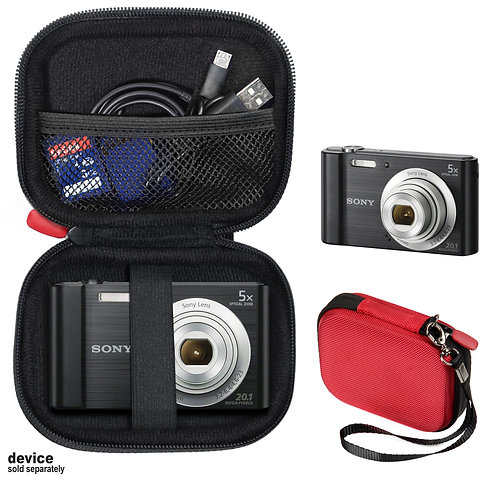 Protective case for Sony DSC-W800 Digital Camera (red & black)