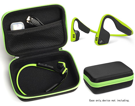 Bone Conduction Headphones Case (Black w/ Lime Zipper)