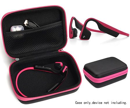 Bone Conduction Headphones Case (Black w/ Pink Zipper)