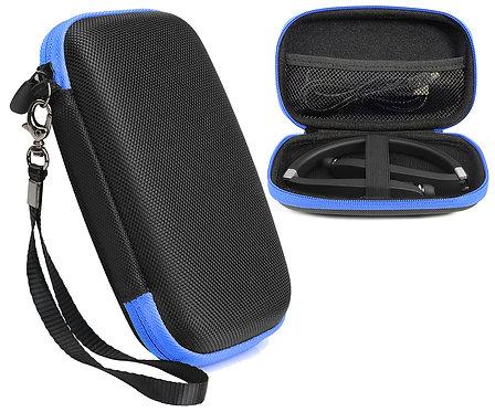 Wireless Foldable Sports Neckband Headphones (Black w/ Blue Zipper)