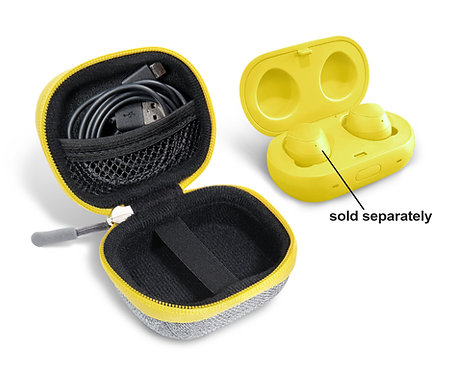 Protective Earbud Case for Samsung Galaxy Buds (tweed gray & yellow)