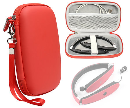 Red Wireless Foldable Neckband Headphone Case