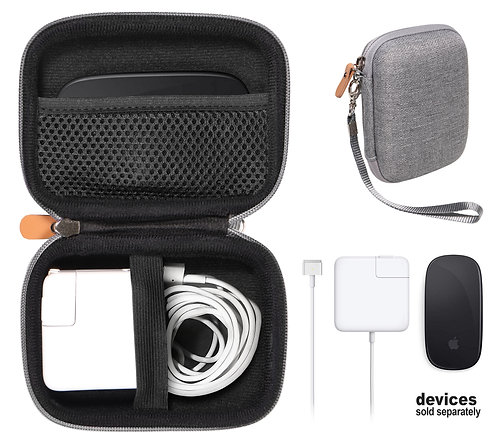Apple Macbook Air Charger + Magic Mouse Case (tweed gray)