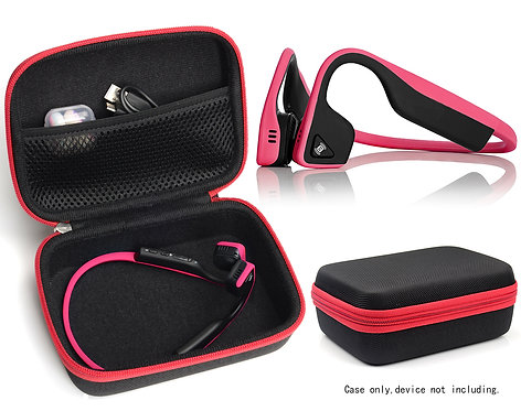 Bone Conduction Headphones Case (Black w/ Red Zipper)
