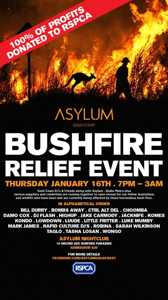 Bushfire Relief Charity Event at Asylum Nightclub, Surfers Paradise