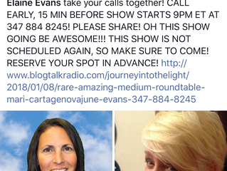 💗📞⭐️🙏 Catch Medium Mari & June Elaine Evans TONIGHT January 7th 9pm on Journey Into the Light