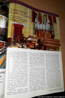 Article by Pual Hale on the Organists' Review magazine