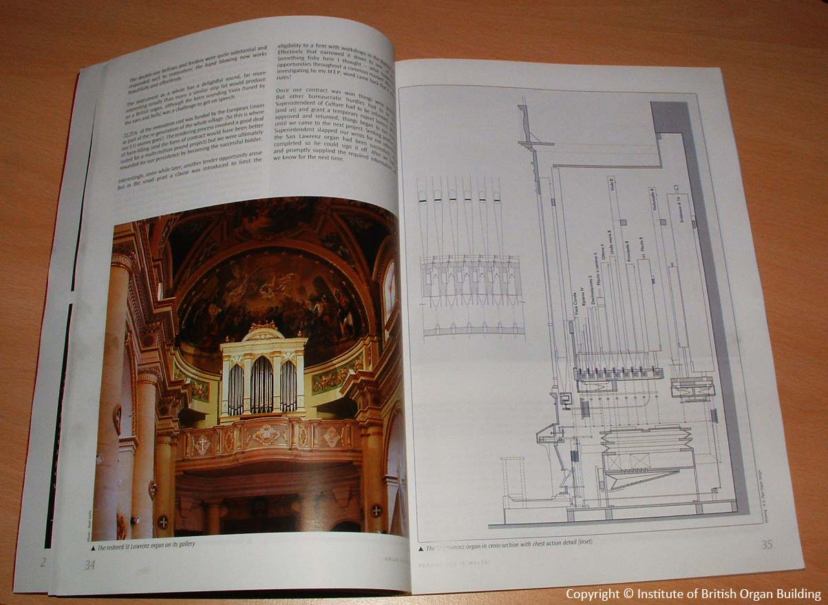 Article on the Institute of British Organ Building journal-St.Lawrence, Gozo organ