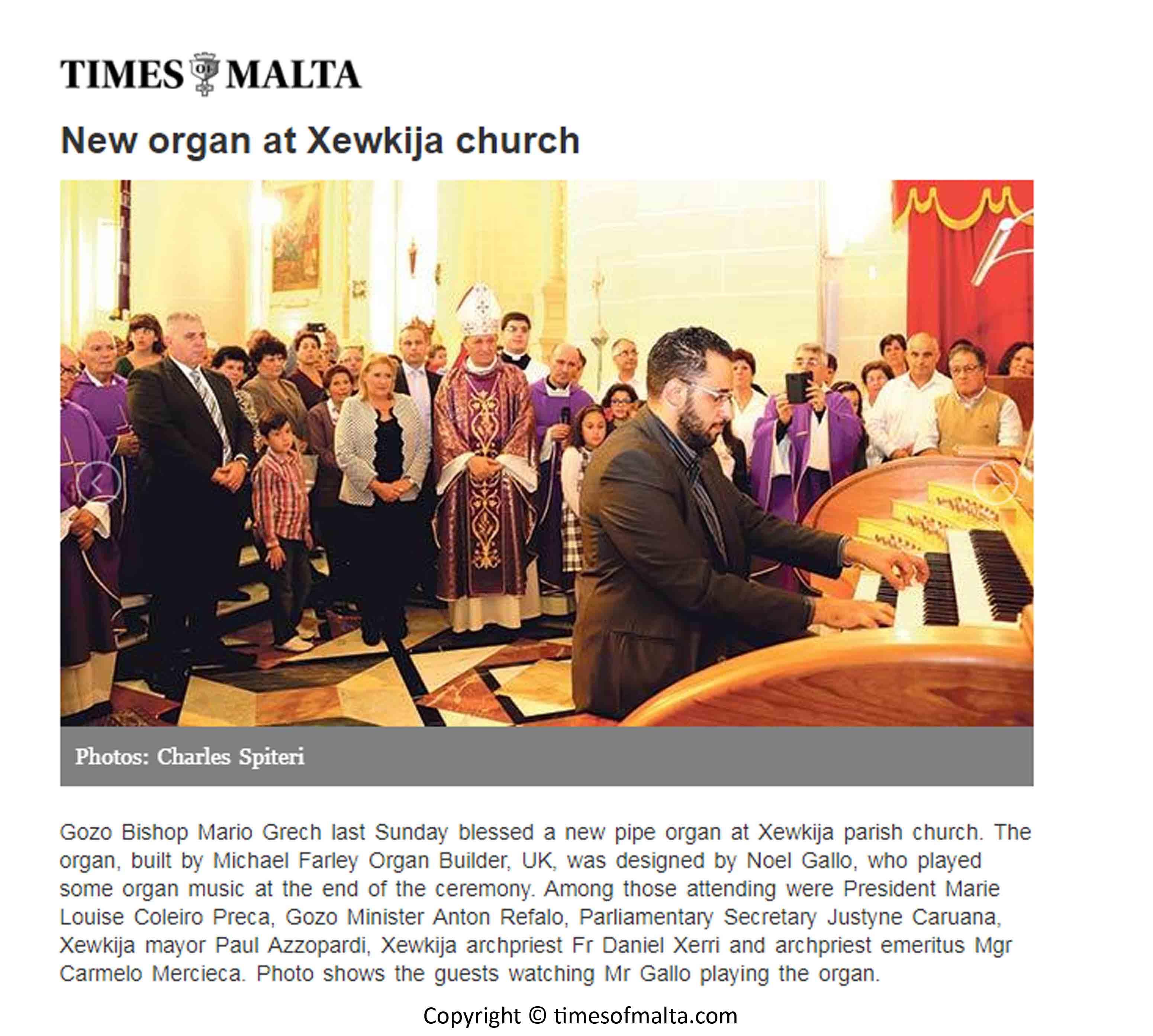 Xewkija organ-Time of Malta