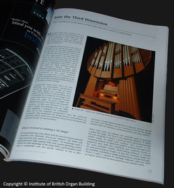 Article on the Institute of British Organ Building Journal - 3D Visuals subject