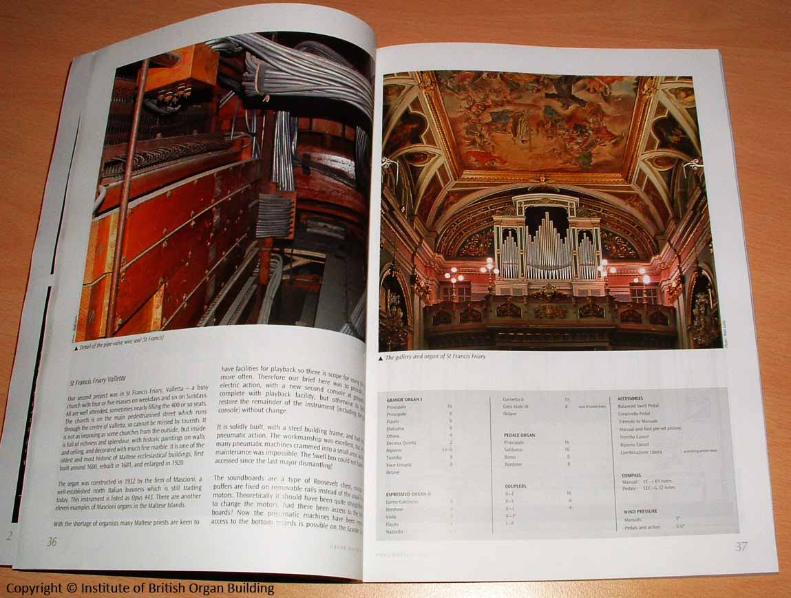 Article on the Institute of British Organ Building journal- St.Francis Valletta organ