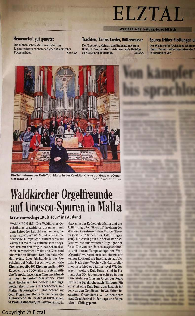 Organ tour activity article on the Elztal newspaper