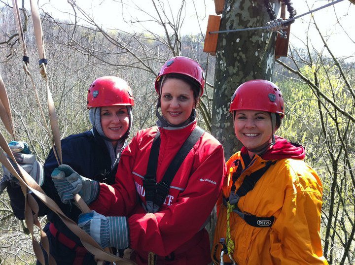 Lori, Michele and Tiffany zip lining in Hocking Hills at the Hocking Hills Canopy Tours