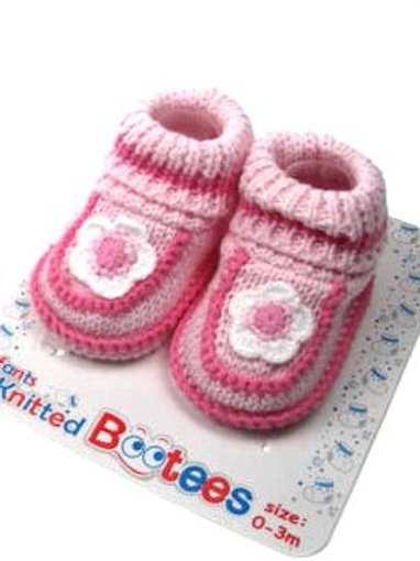 SOFT TOUCH BEBE BOOTIES / CHAUSSONS TRICOT ROSE AVEC FLEUR
