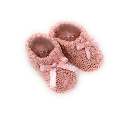 PAIRE DE CHAUSSONS BEBE BOOTIES TRICOT ROSE OR AVEC RUBAN